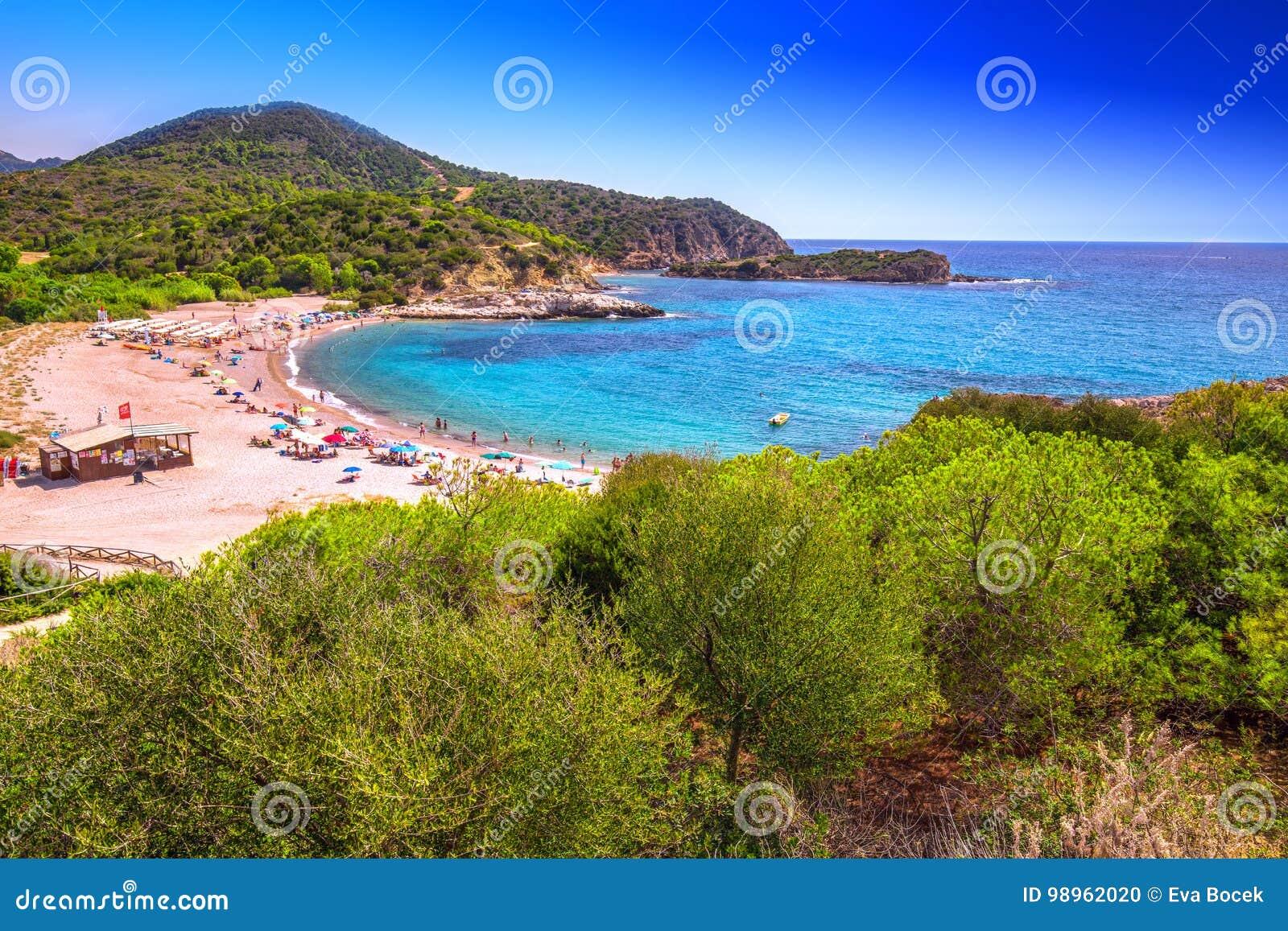 Su Portu Beach, Chia Resort, Sardinia, Italy Editorial Image ...