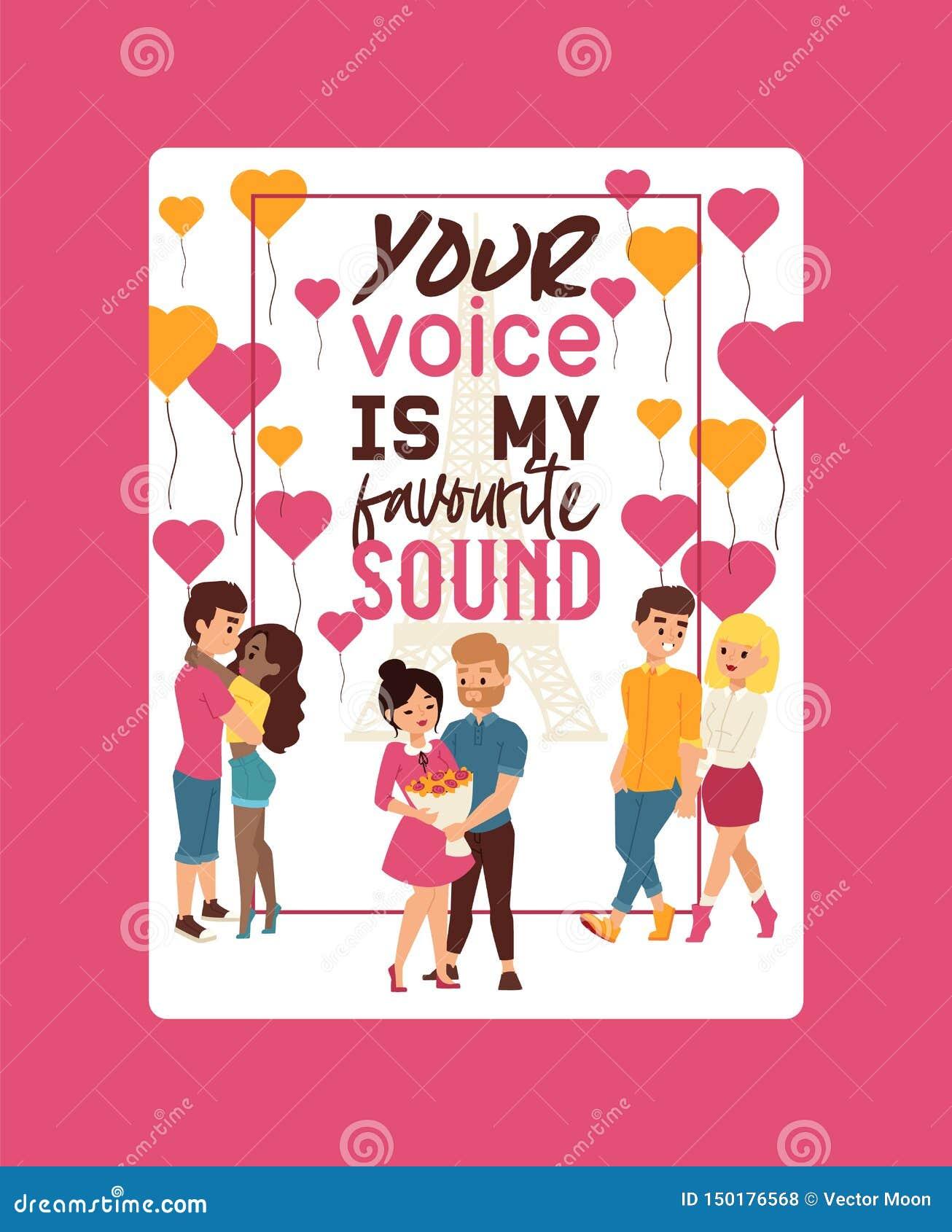 Su voz es mi ejemplo preferido del vector del cartel de los sonidos Pares de la gente joven que camina así como torre Eiffel