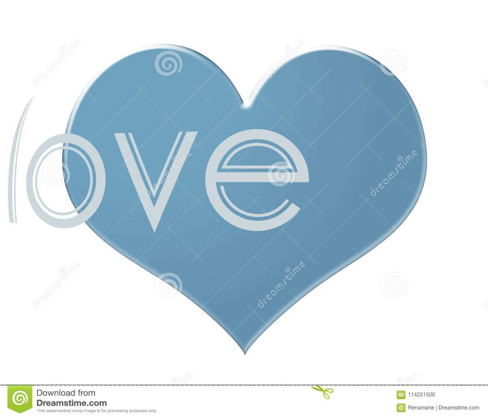 Suavemente Corazón Coloreado Azul Aislado En Un Fondo Blanco Con La ...