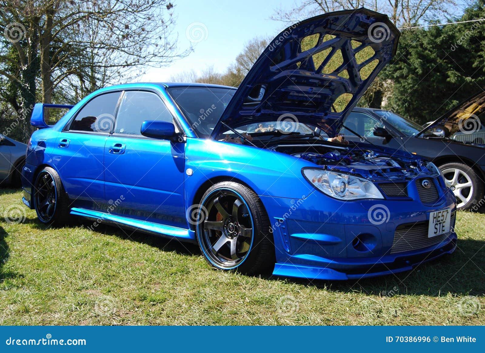 Subaru Fast Editorial Photo Image Of Race Blue Alloys 70386996 Sti With White Rims Modified Wheels