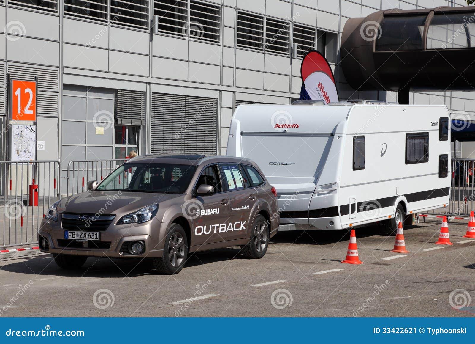subaru forester with a caravan editorial photo image of salon
