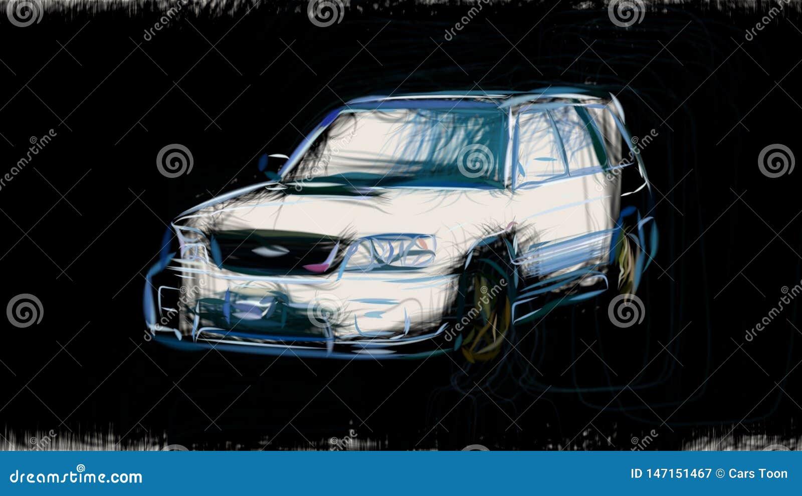 2000 Subaru Forester Sti Ii Id 2812 Stock Illustration