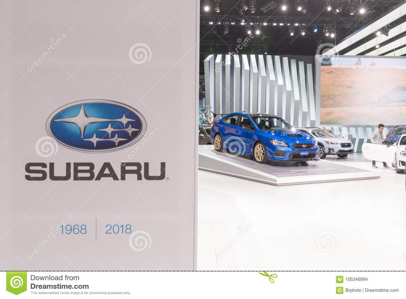 Subaru Stand On Display During LA Auto Show Editorial Stock Image - Car show wheel display stands