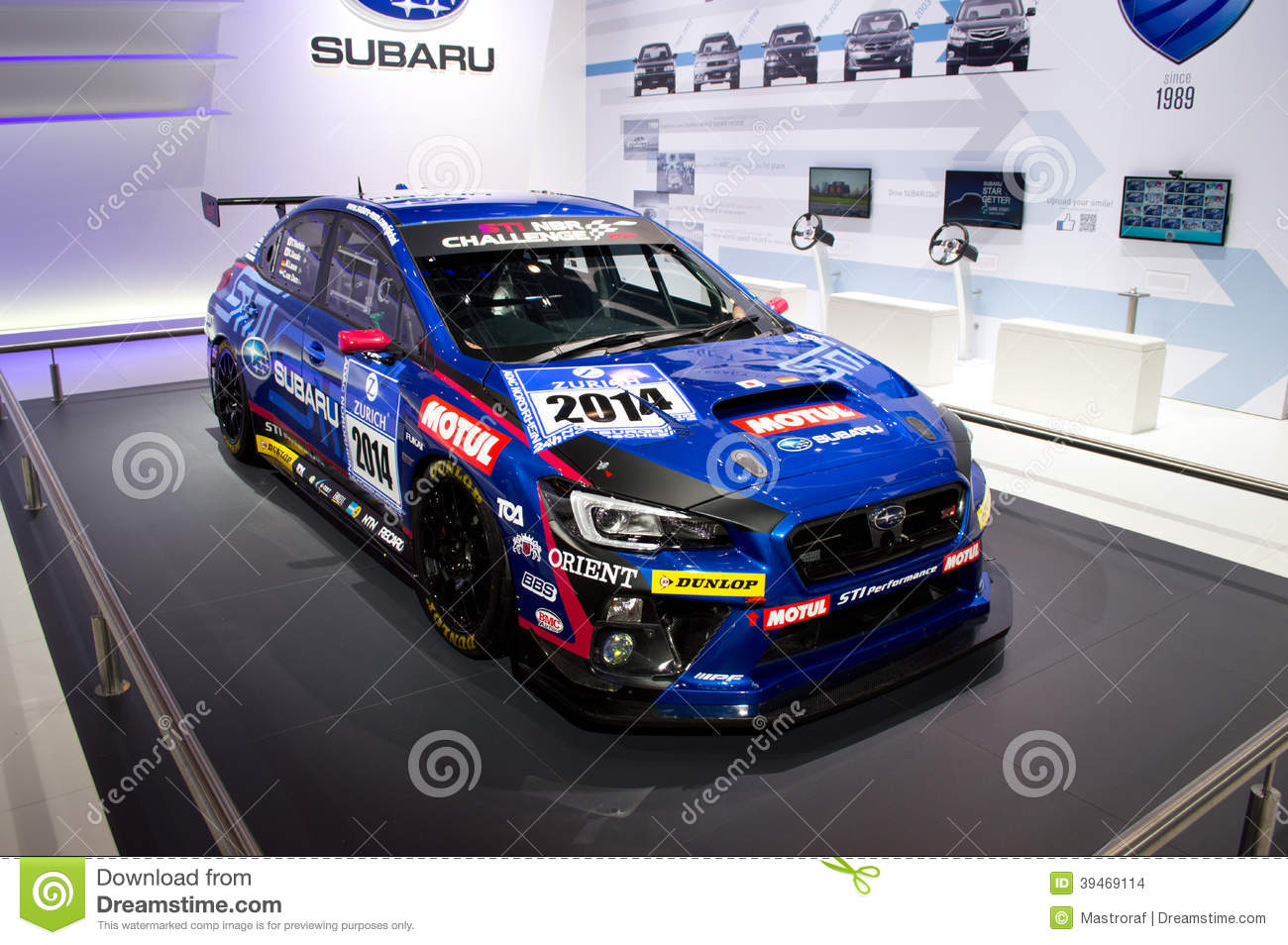 subaru wrx race car geneva 2014 editorial stock image - image of