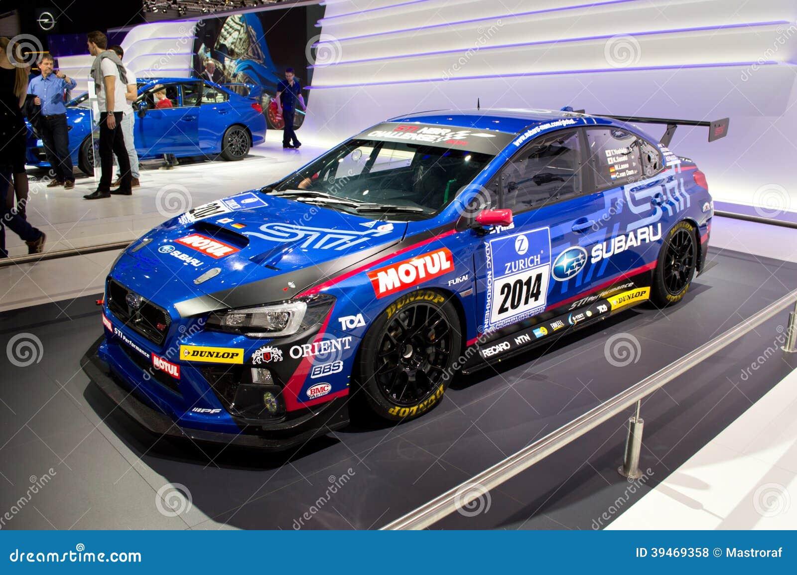 subaru wrx race car geneva 2014 editorial stock photo image 39469358. Black Bedroom Furniture Sets. Home Design Ideas