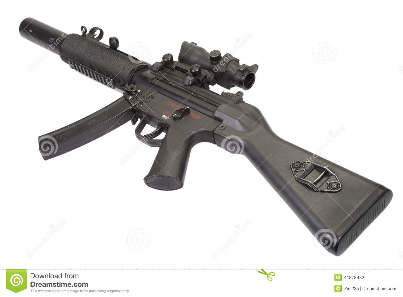 Submachine Gun MP5 With Silencer Stock Photo - Image of