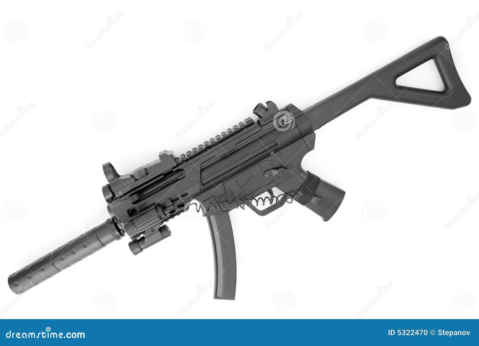 submachine gun with a silencer stock photo image 5322470