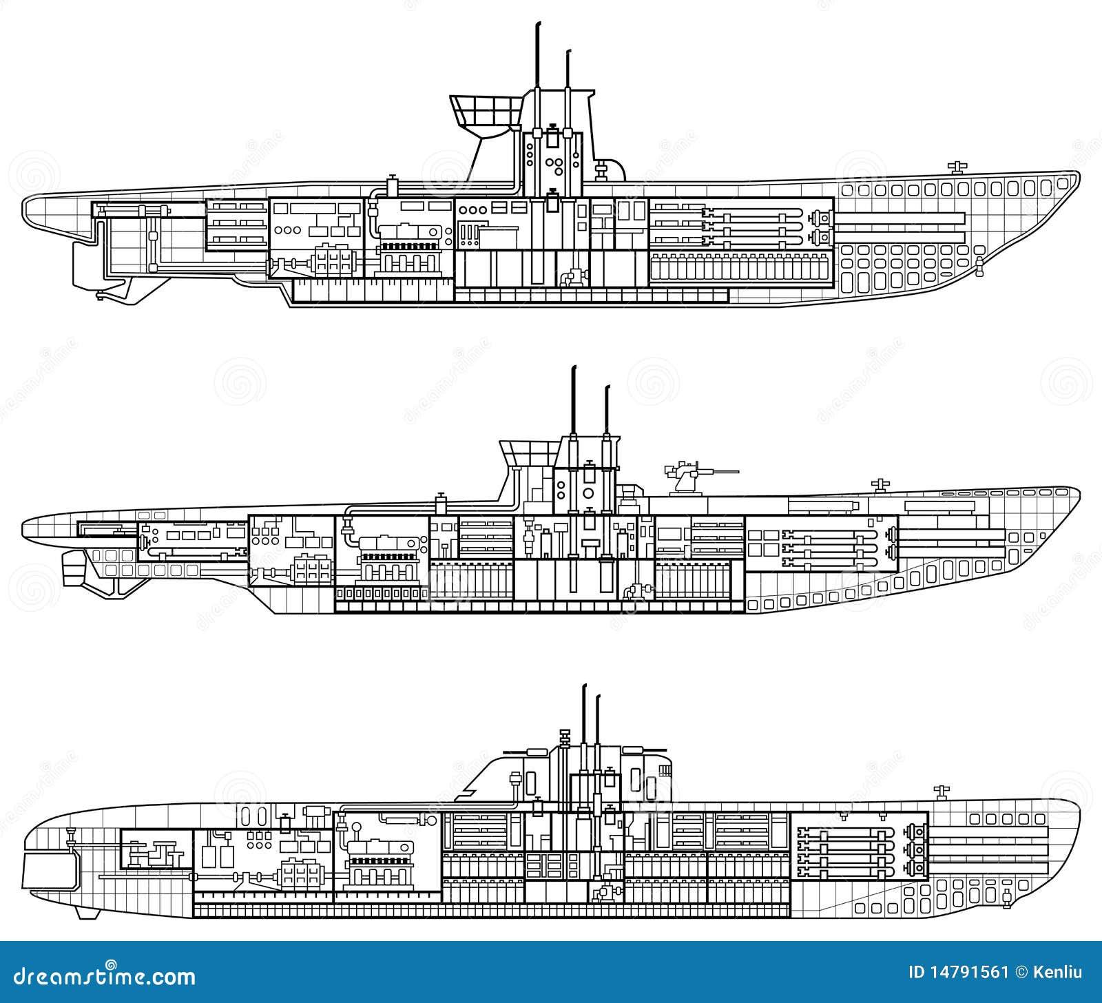 layered vector illustration of 3 kinds of german u-type submarine