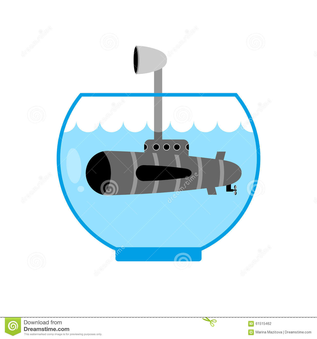 Submarine In Aquarium. Periscope Above Water. Monitoring