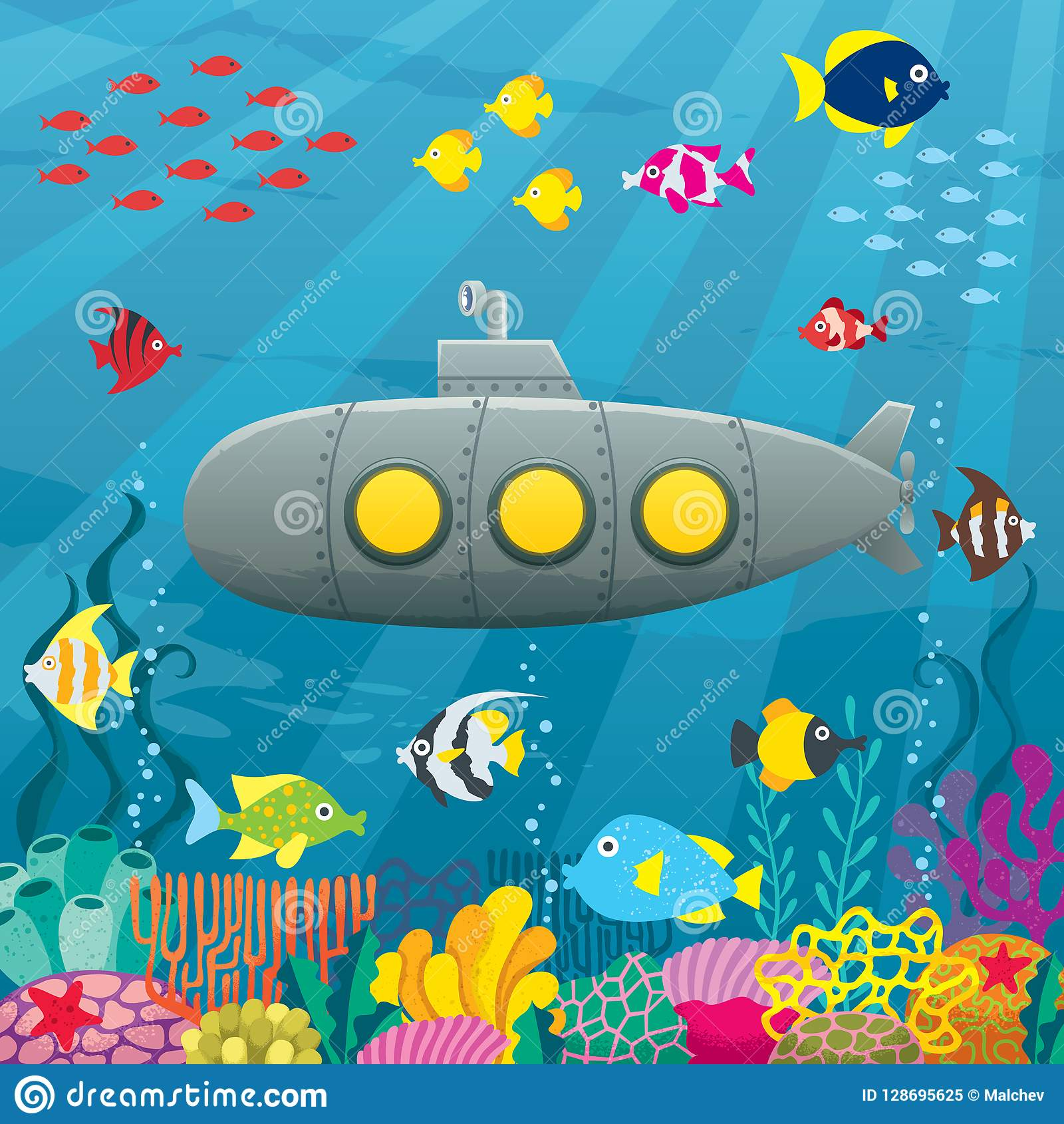 submarine cartoon background stock vector illustration of cartoon