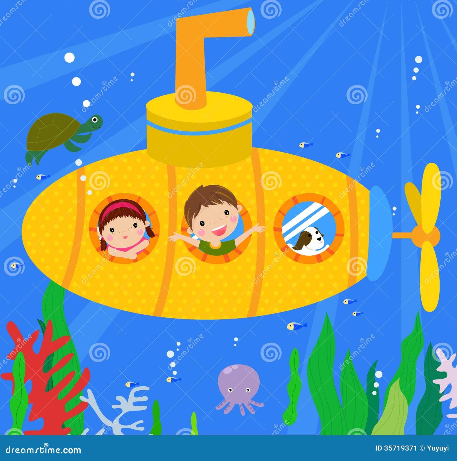 submarine and kids stock image image 35719371