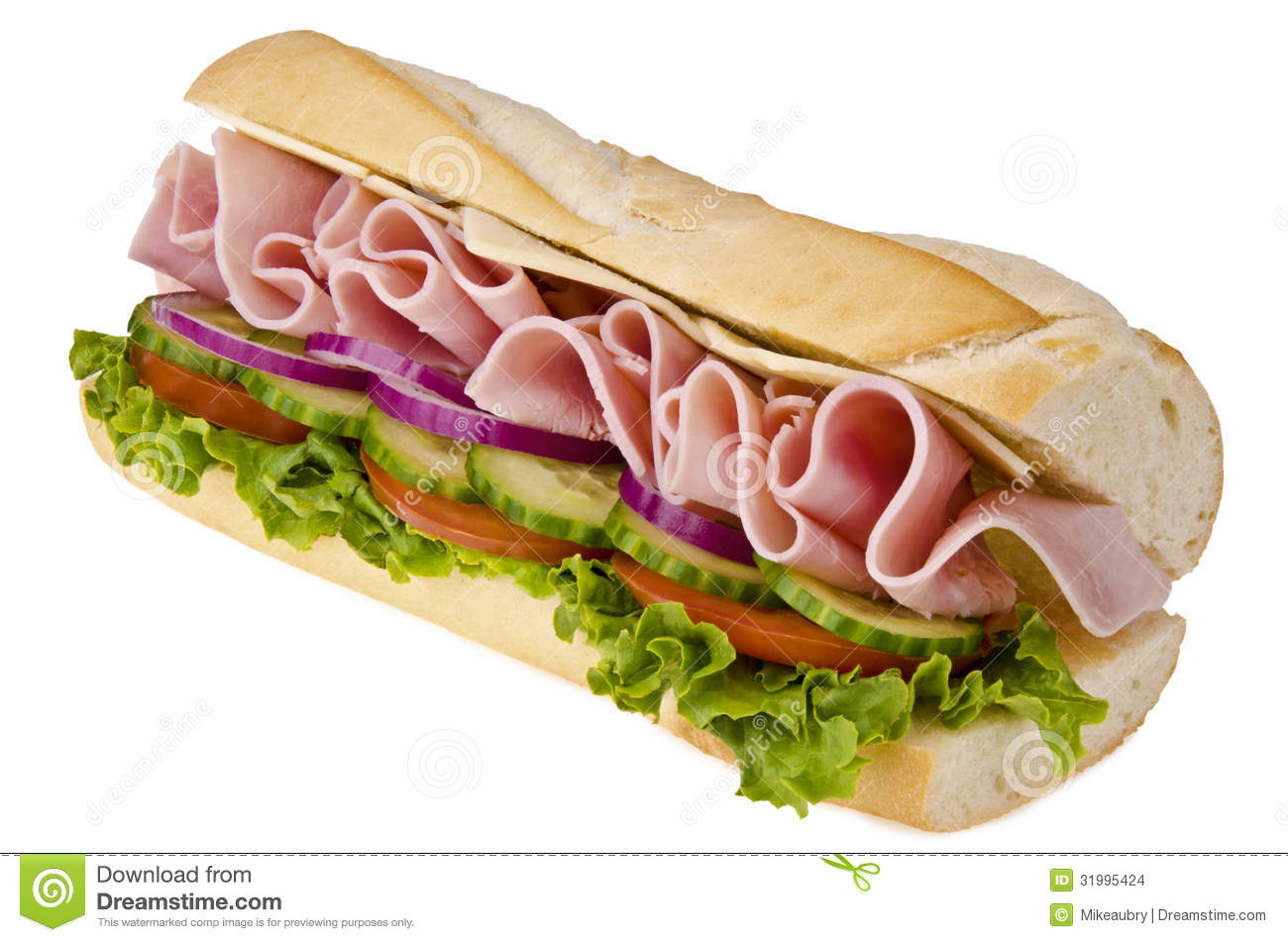 Huge sub sandwich by diagonal isolated on white background.