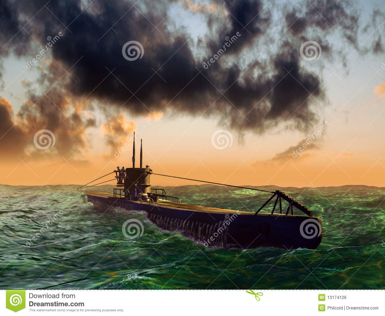Submarine on sea surface