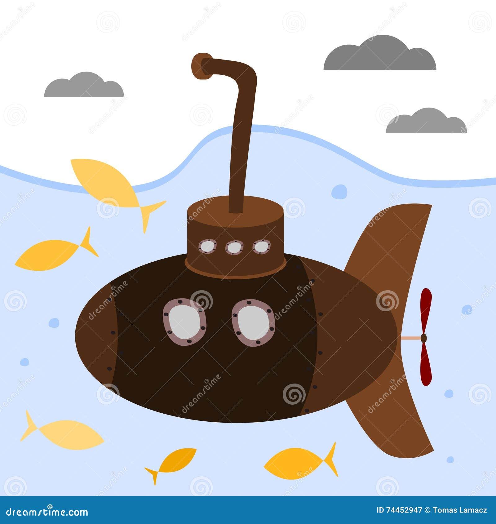 Submarino de Brown com periscópio
