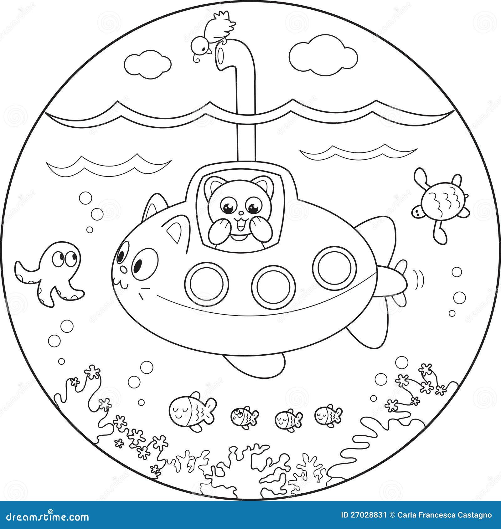 Submarino Del Colorante Bajo El Agua Ilustración del Vector ...