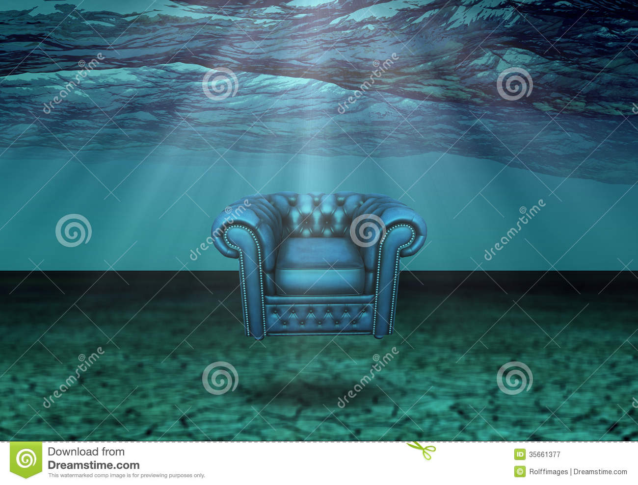 Submerged : Submerged Chair In Submerged Desert Floats Royalty Free Stock ...