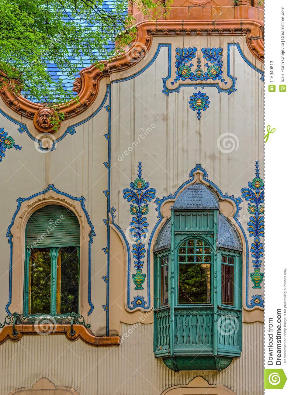Detail Of House Of Architect Ferenc Raichle In Hungarian Art