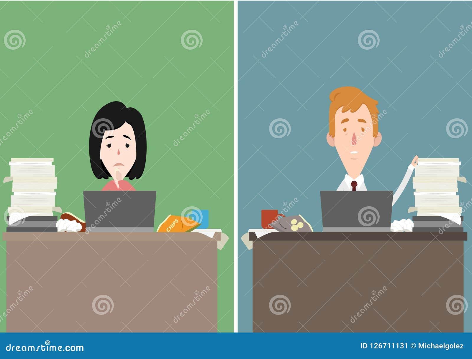 Subrayan a la madre y al padre en el ejemplo del personaje de dibujos animados del trabajo