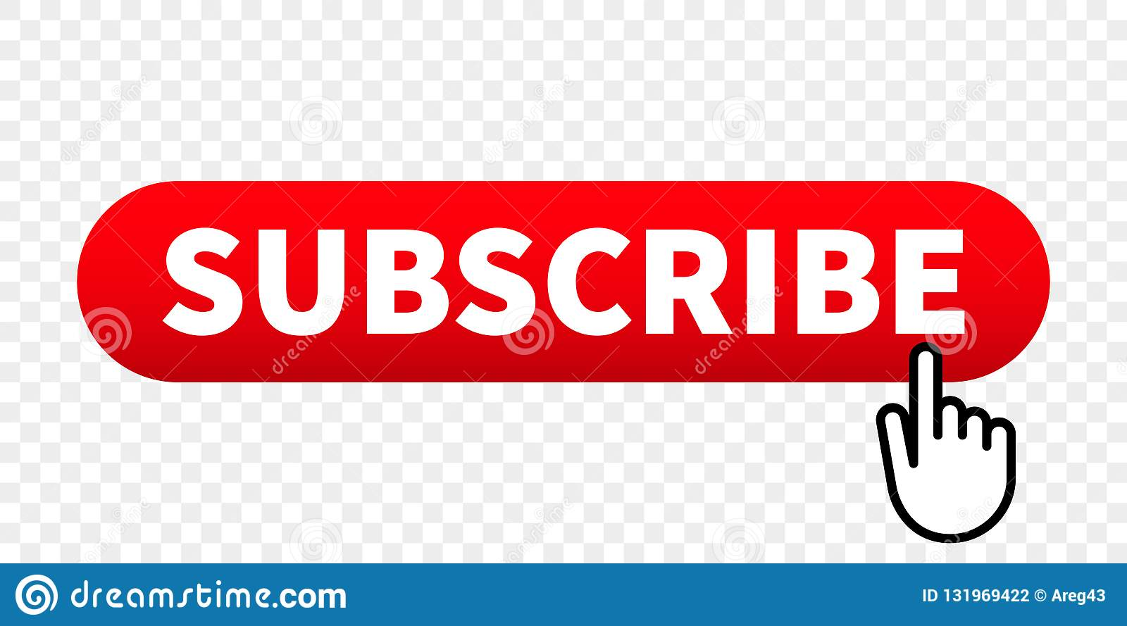 Subscribe web site vector red button with hand finger click pointer
