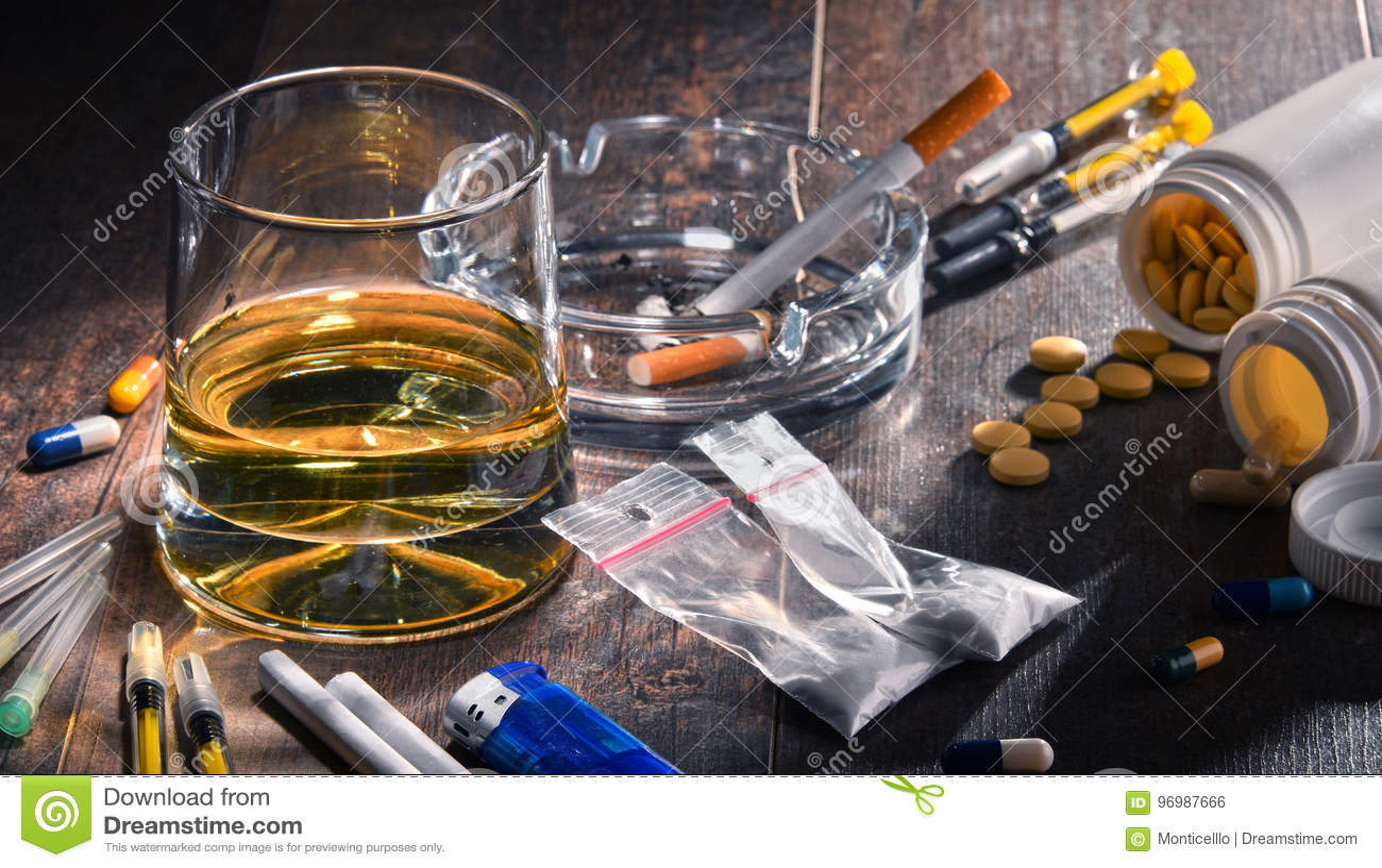 Substâncias aditivas, incluindo o álcool, os cigarros e as drogas