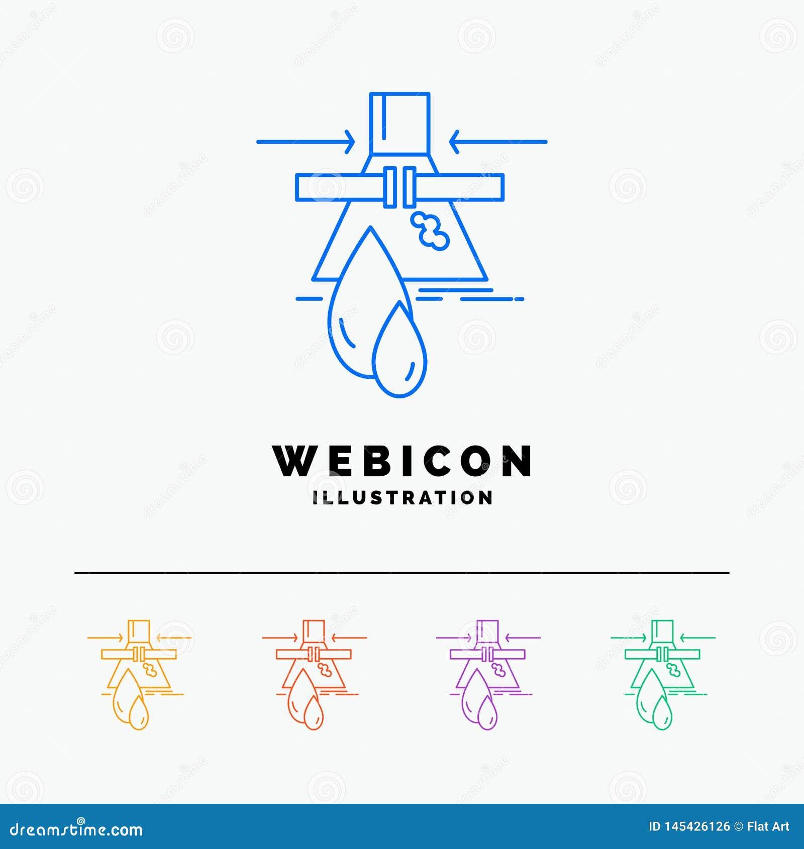 Substancja chemiczna, przeciek, wykrycie, fabryka, zanieczyszczenia 5 koloru linii sieci ikony szablon odizolowywający na bielu r