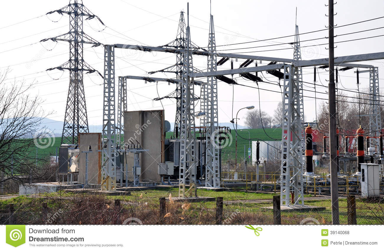 Substation transformer and high voltage stock photo for Distribution substation