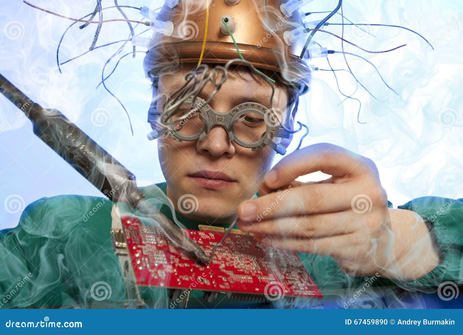 Substituição louca do inventor de componentes eletrônicos