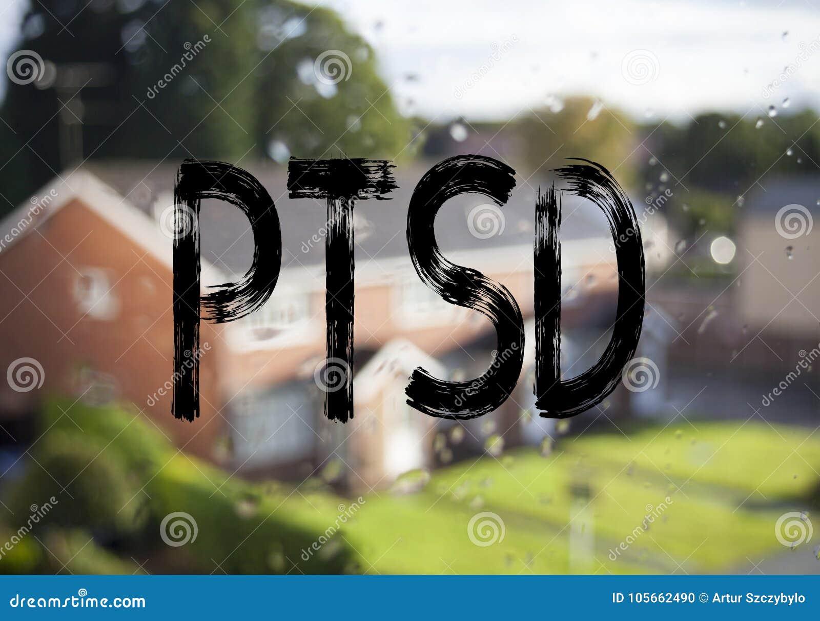 Subtítulo do texto do anúncio que mostra a PTSD a desordem Cargo-traumático do esforço Conceito do negócio para o tratamento da s