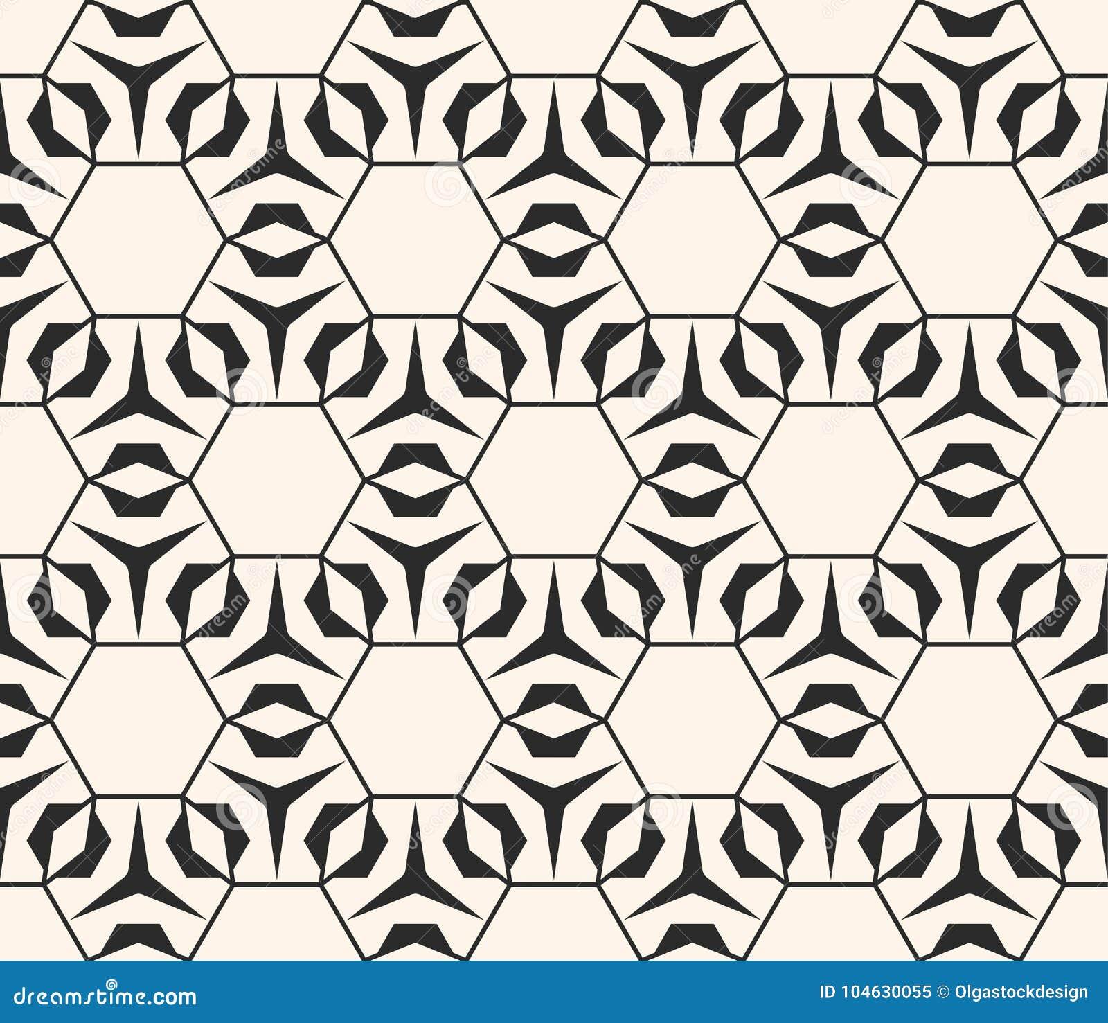 Download Subtiel Vector Geometrisch Patroon Met Dunne Lijnen, Hexagonaal Net Vector Illustratie - Illustratie bestaande uit zwart, rooster: 104630055