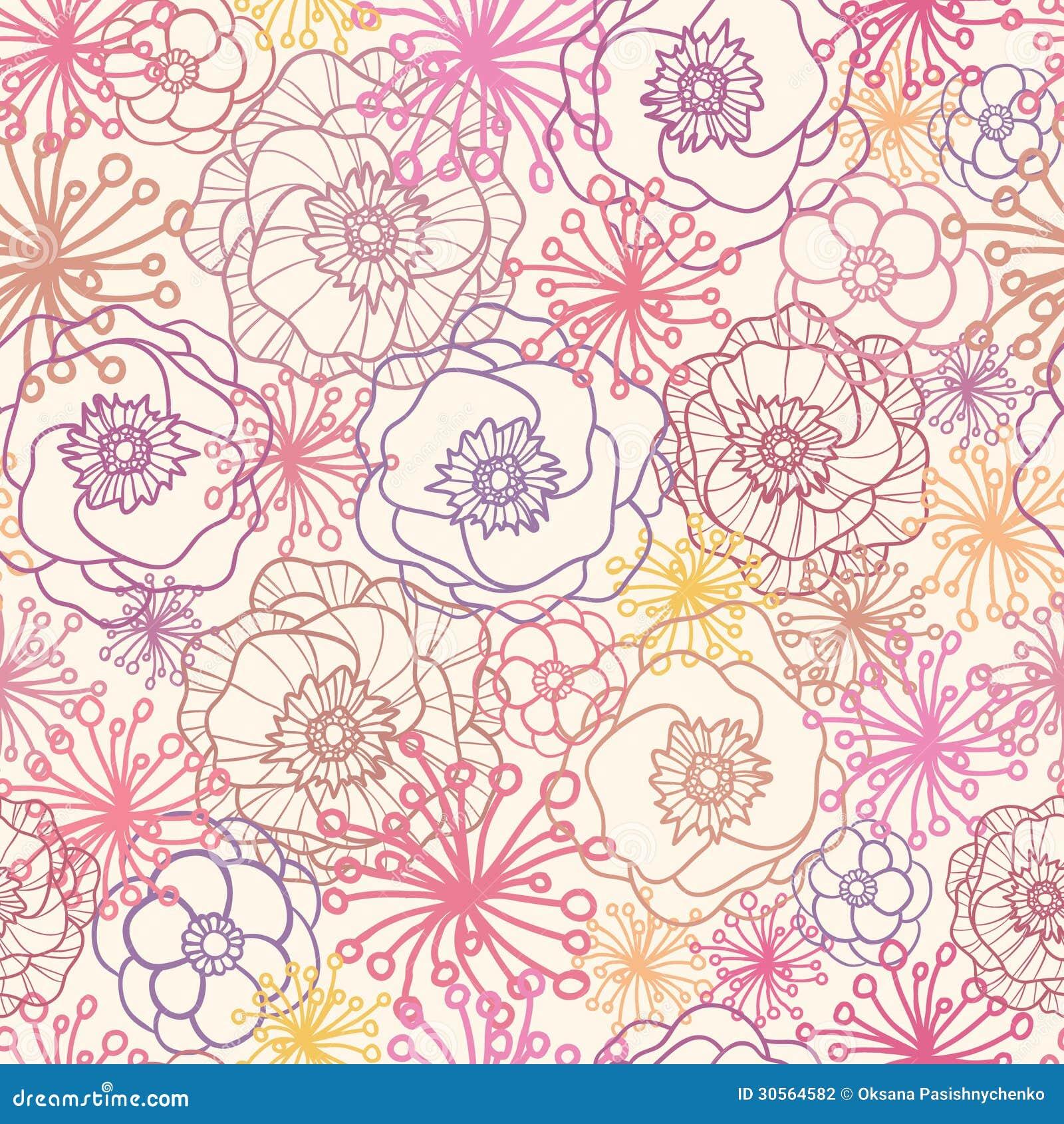 Subtle Field Flowers Seamless Pattern Background Stock