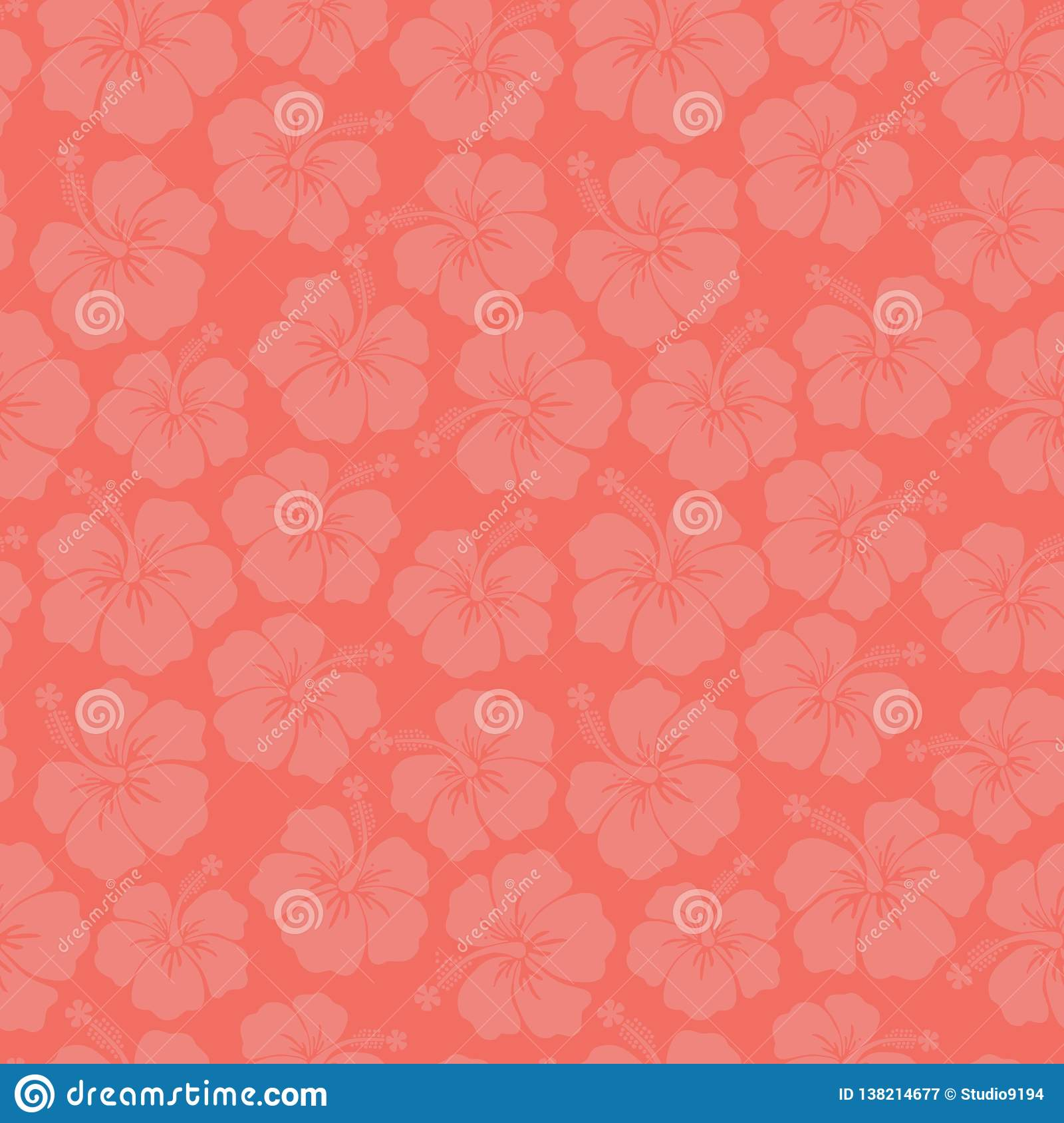 Subtle Floral Background Coral Hibiscus Flowers Seamless Vector