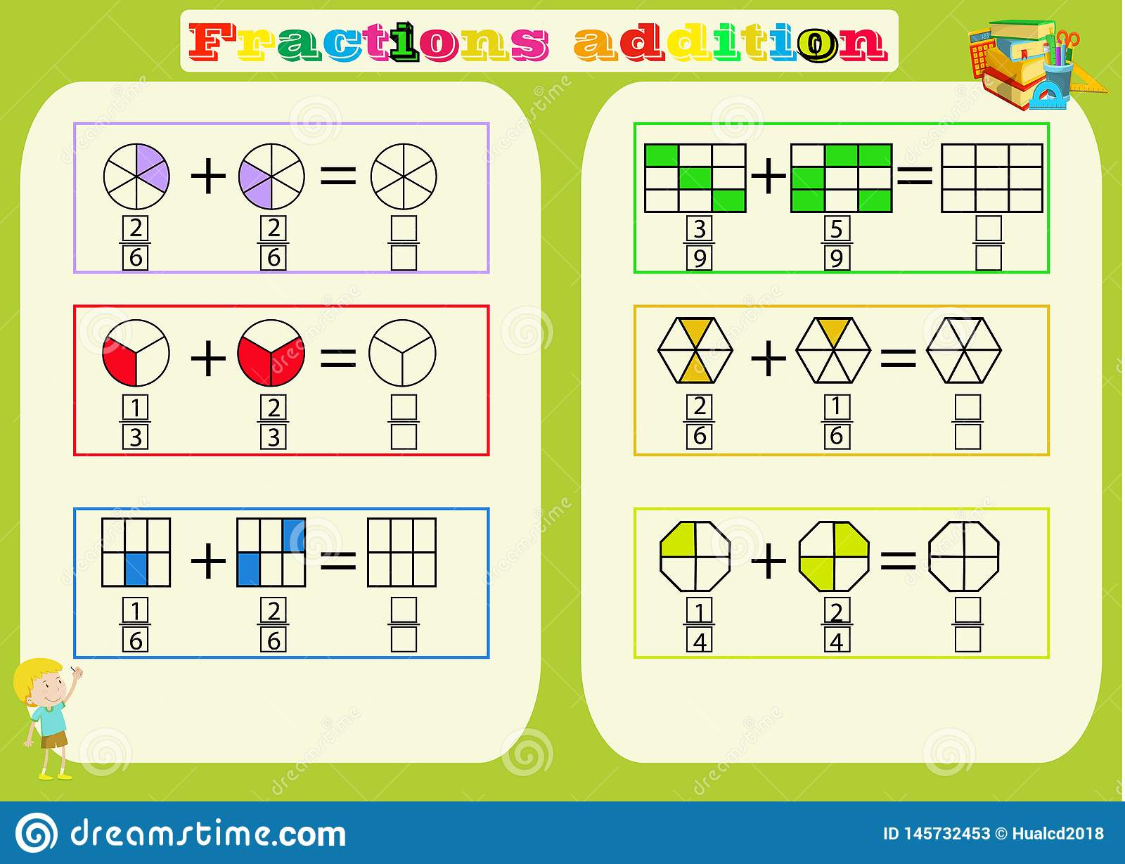 Subtracting Fractions Mathematical Worksheet. Triangles ...