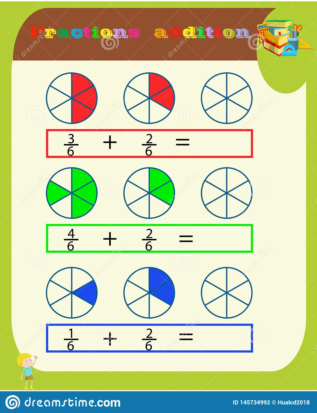 Subtracting Fractions Mathematical Worksheet. Triangles. Coloring ...