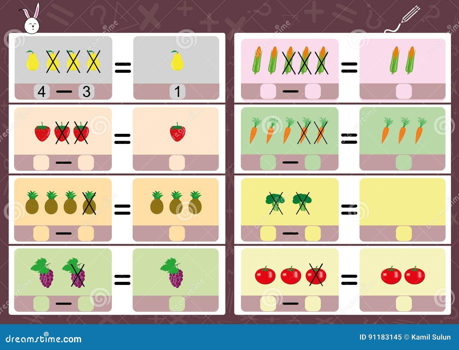 subtracting using pictures math worksheet for kids stock illustration image 91183145. Black Bedroom Furniture Sets. Home Design Ideas