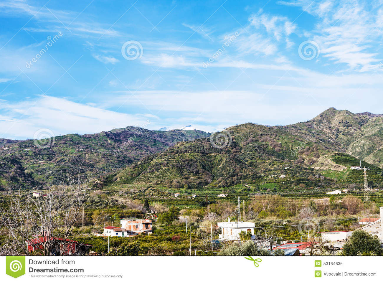 Suburb of town gaggi in green hills sicily italy stock for Green italy