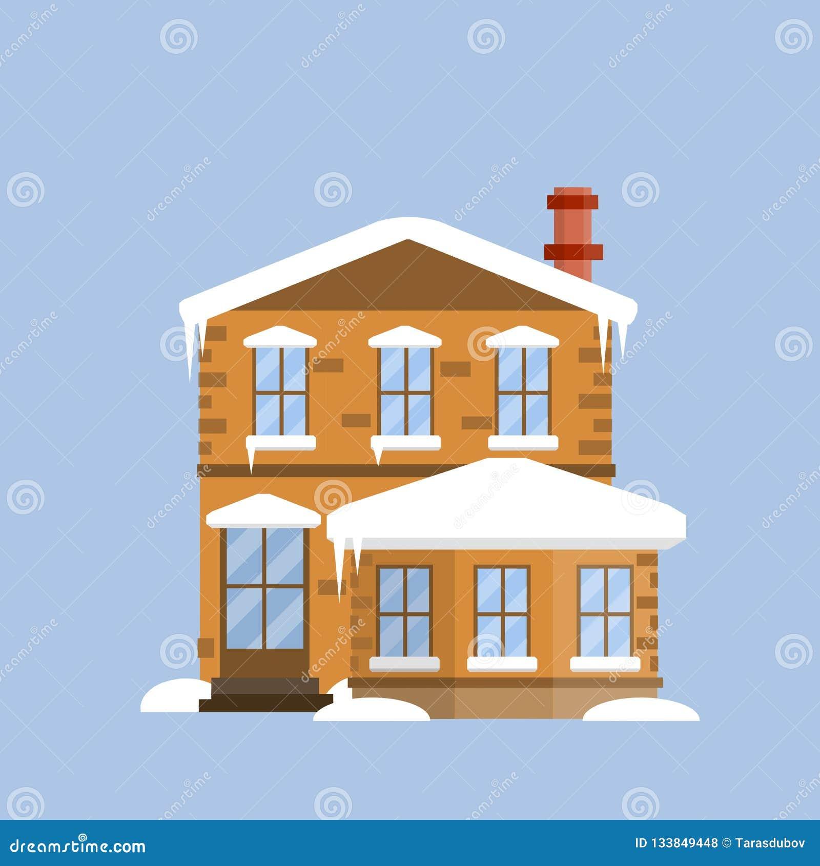 Marvelous Suburban Cozy Home Cartoon Flat Illustration Stock Download Free Architecture Designs Fluibritishbridgeorg