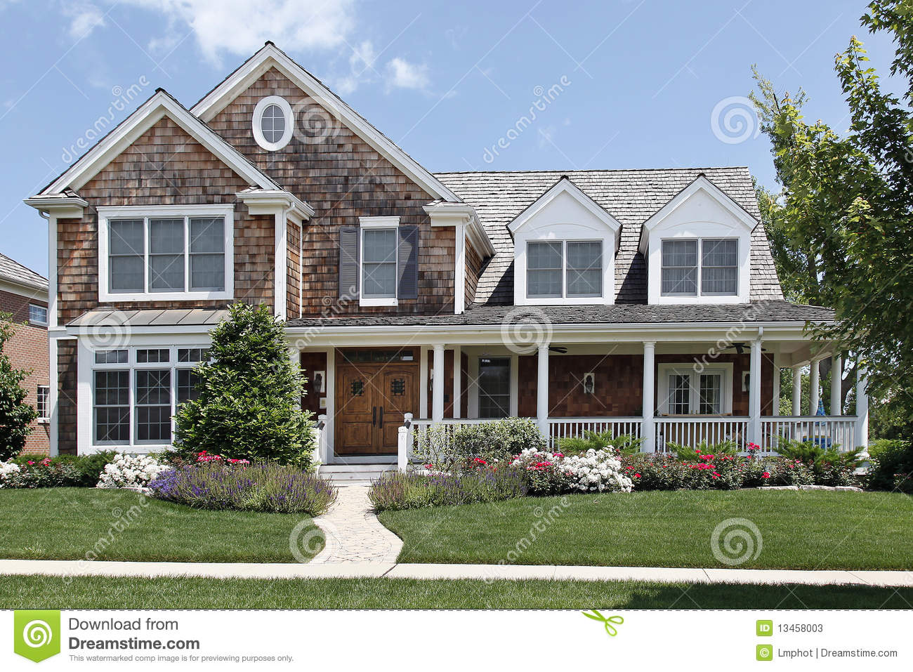 Suburban home with front porch stock image image 13458003 for Porch homes