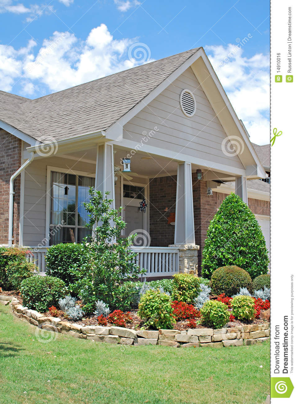 Suburban home with landscaping stock photo image of for Suburban house plans