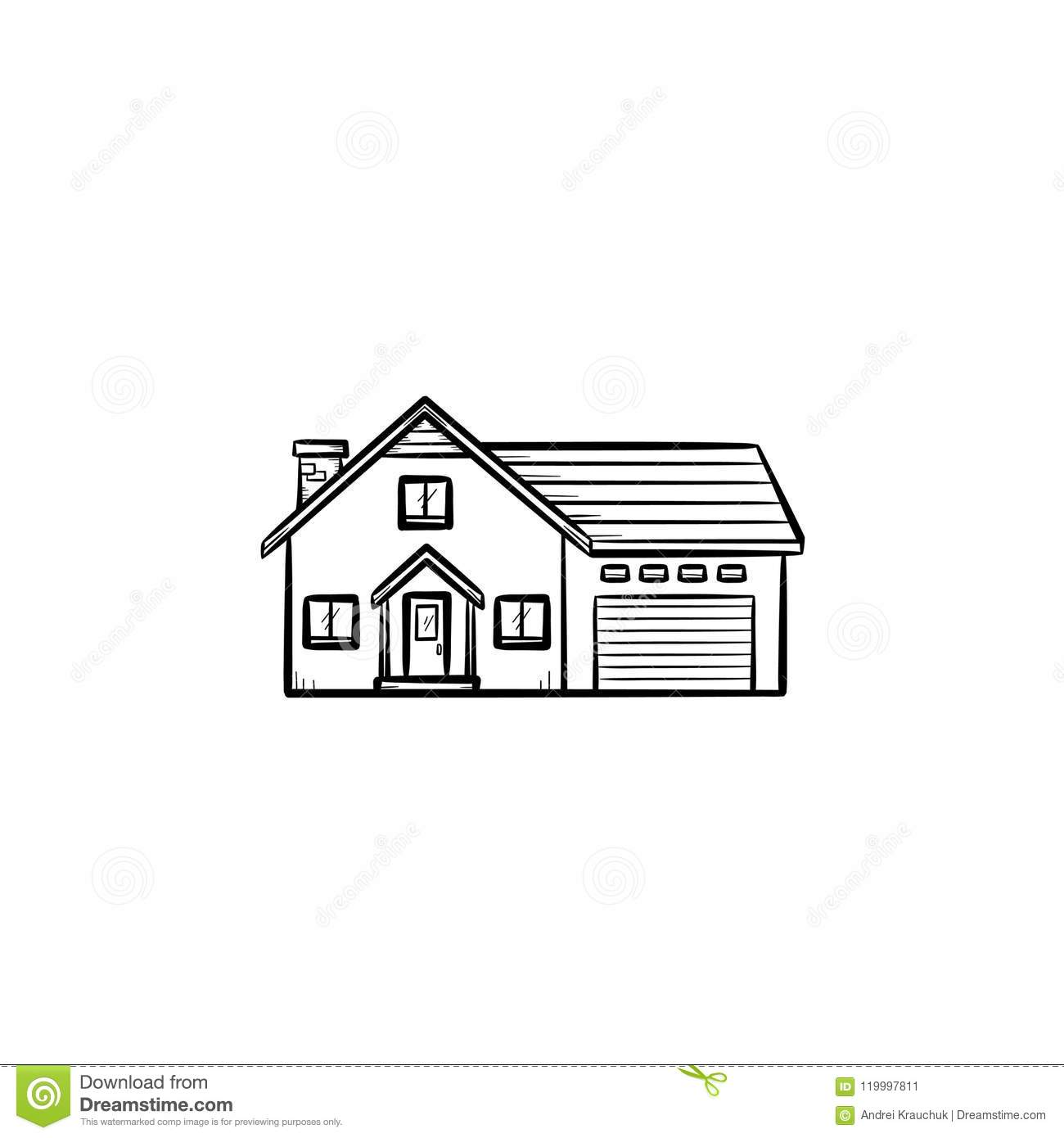 Suburban House Hand Drawn Outline Doodle Icon  Stock Vector