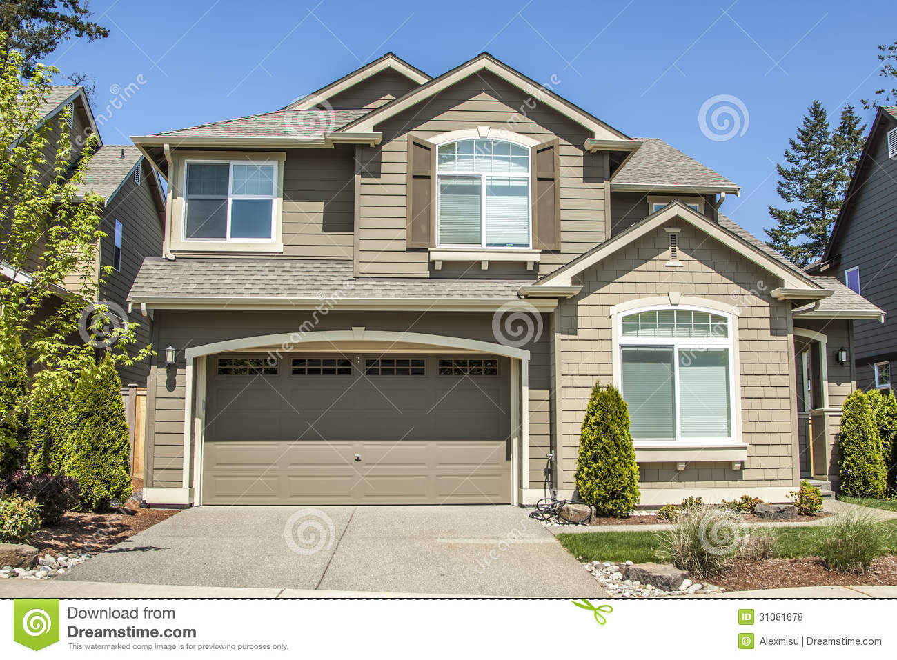 Suburban House Stock Photo Image Of Architecture Garage