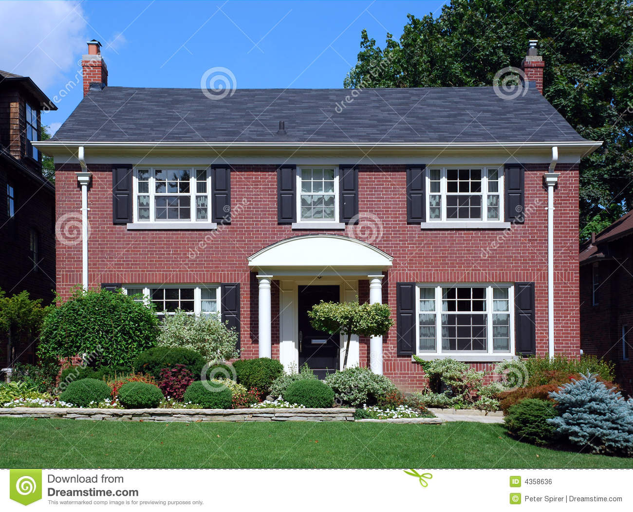 Suburban house with shutters royalty free stock image for Simple american house