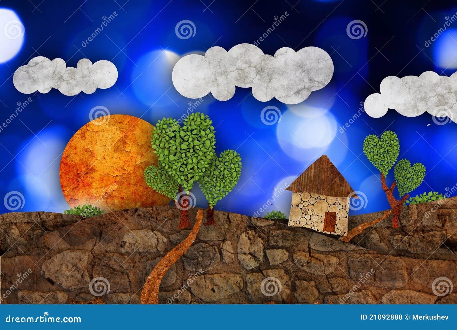 Suburban landscape with house, illustration