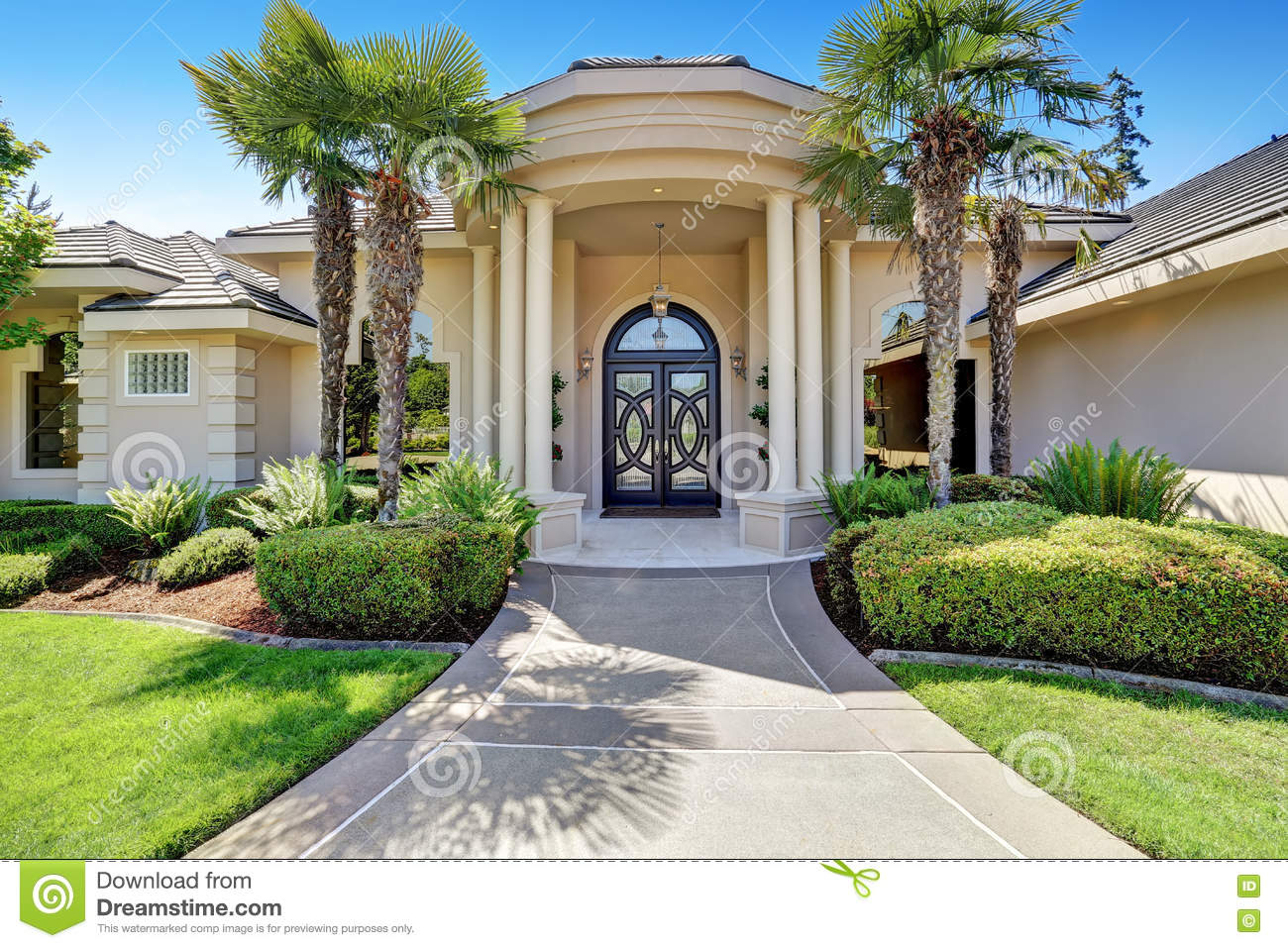 Suburban Luxury House With Column Porch And Arched