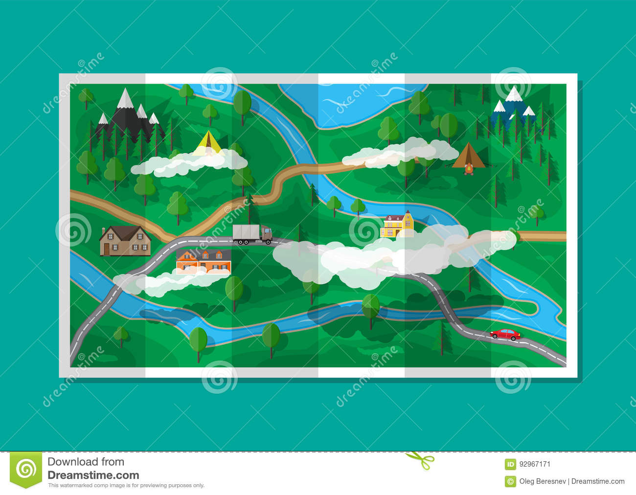 Suburban paper nature map gps and navigation stock vector suburban paper nature map gps and navigation gumiabroncs Image collections
