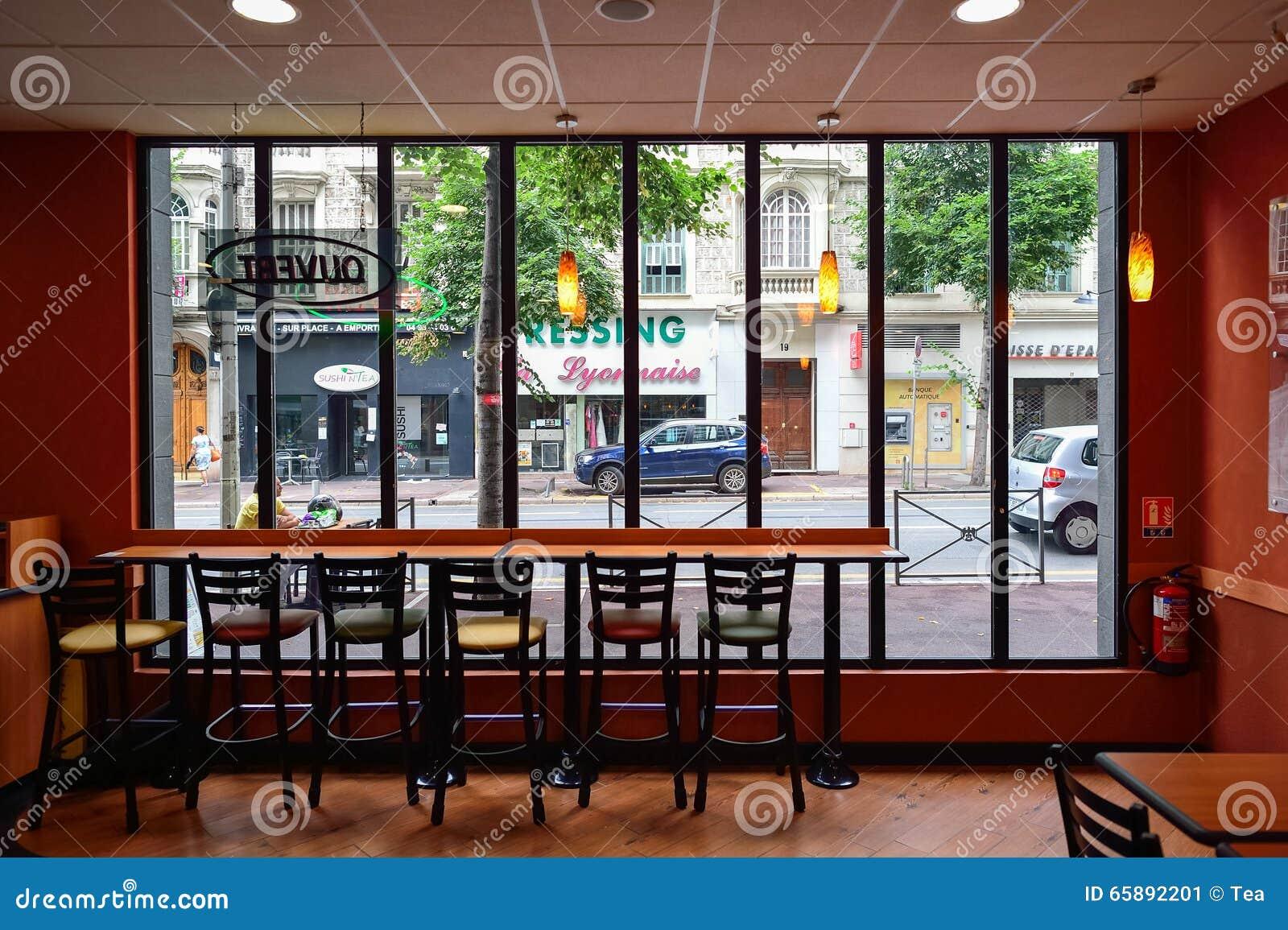 Subway fast food restaurant interior