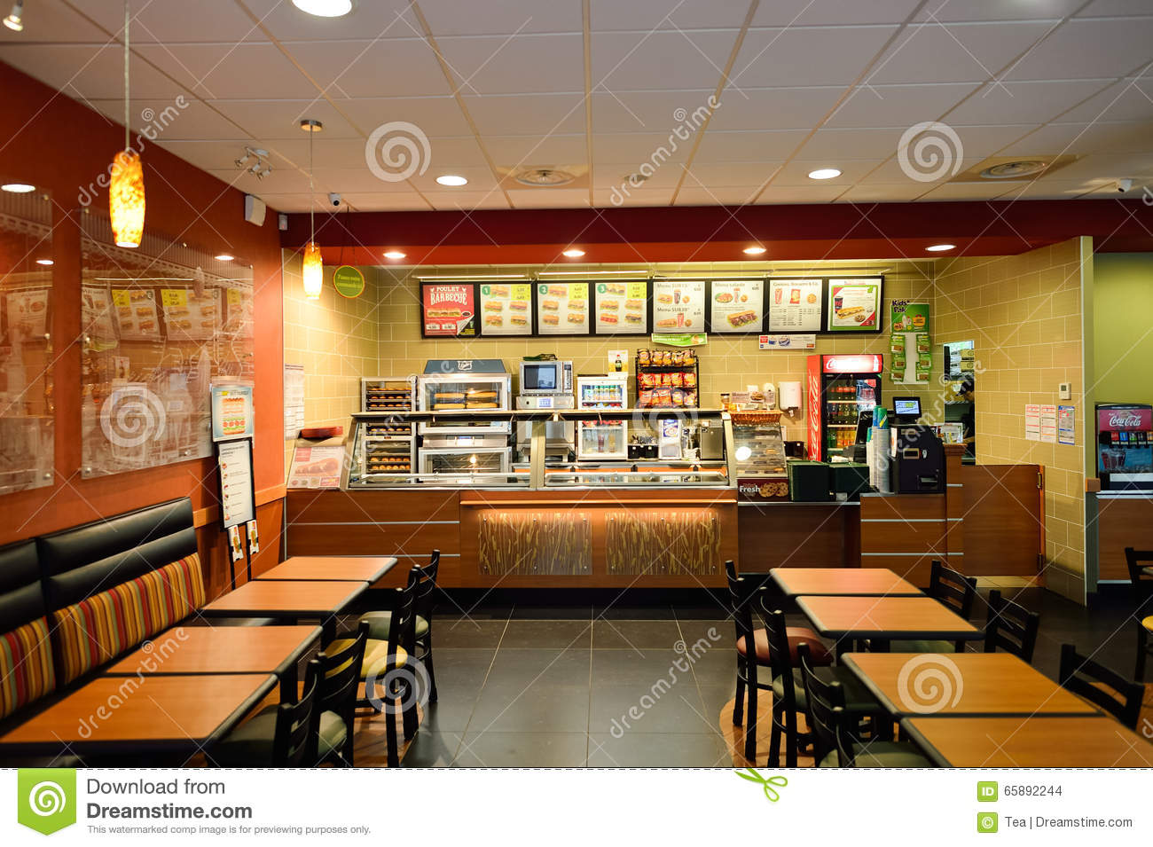Subway fast food restaurant interior editorial stock image