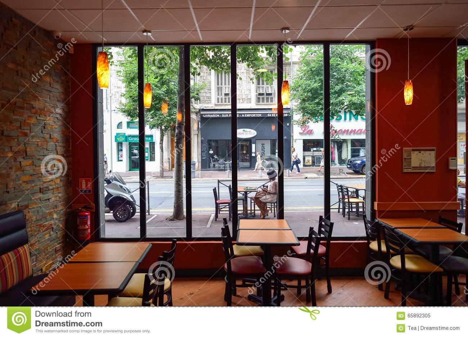 Subway fast food restaurant interior editorial image