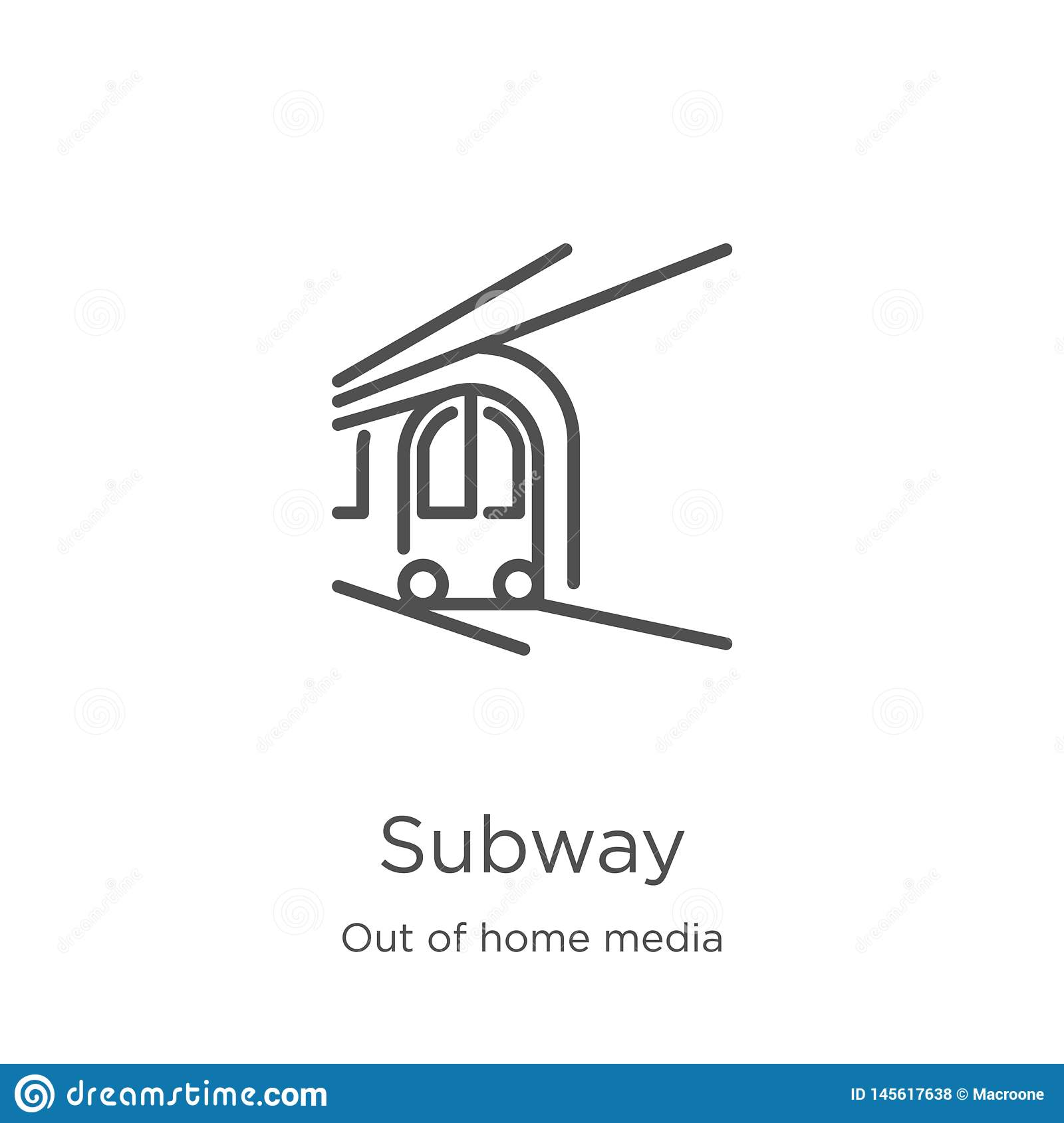 subway icon vector from out of home media collection. Thin line subway outline icon vector illustration. Outline, thin line subway