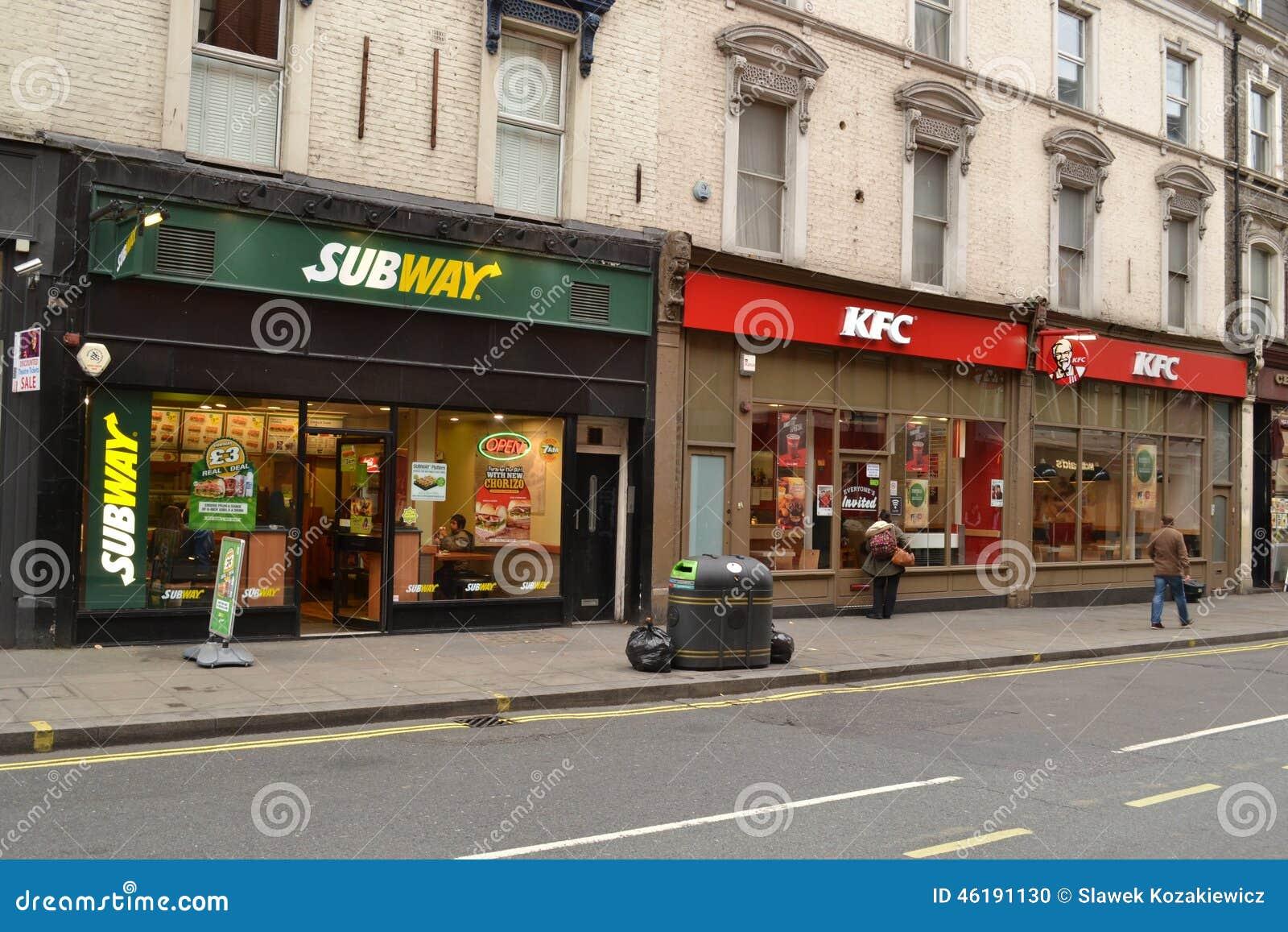 subway and kfc fast food restaurants editorial image image of sandwich restaurants 46191130. Black Bedroom Furniture Sets. Home Design Ideas