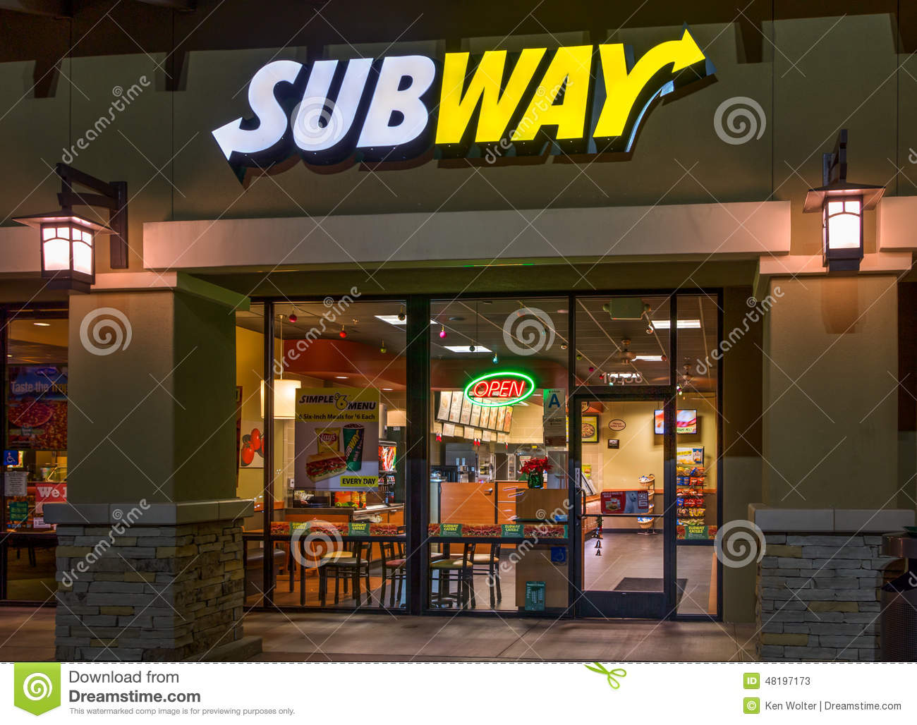 Subway Restaurant In Downtown